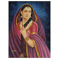 'Rajasthani Beauty II' - Rajasthani Woman Painting