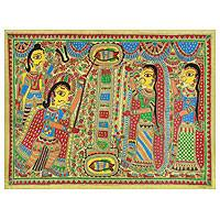 Madhubani painting, 'Arjuna and Draupadi Marry' - Hindu Art Madhubani Painting on Handmade Paper