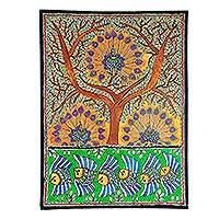 Madhubani painting, 'Mayura Tree of Life' - Madhubani Peacock Painting from India