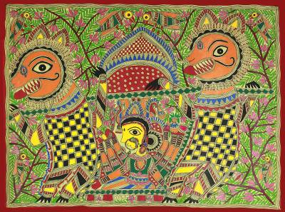 Original Madhubani Folk Art Painting of Goddess Durga