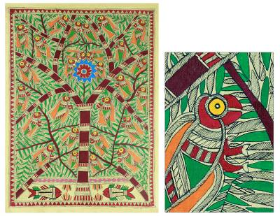 Madhubani painting, 'Tree of Life with Birds and Fish' - Original Madhubani Tree of Life Folk Art Painting