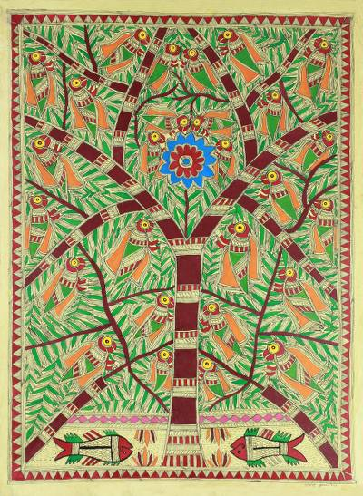 Original Madhubani Tree of Life Folk Art Painting
