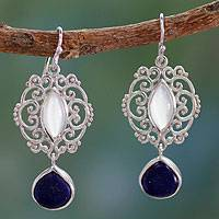 Moonstone and lapis lazuli dangle earrings, 'Simply Sumptuous' - Indian Silver Earrings with Moonstone and Lapis Lazuli