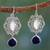 Moonstone and lapis lazuli dangle earrings, 'Simply Sumptuous' - Moonstone Lapis Lazuli and Silver Earrings from India thumbail