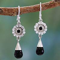 Onyx and white topaz flower earrings, 'Floral Glam' - Onyx and White Topaz on Sterling Silver Earrings