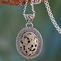 Dalmatian jasper pendant necklace, 'Calm Determination' - Dalmatian Jasper Pendant on Silver Necklace Jewelry