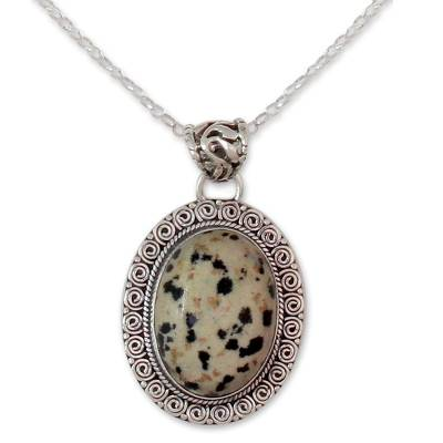 Dalmatian Jasper Pendant on Silver Necklace Jewelry