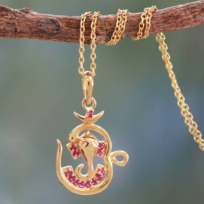 Gold vermeil ruby pendant necklace, 'Om Ganesha' - 18k Gold Plated Ruby Pendant Necklace