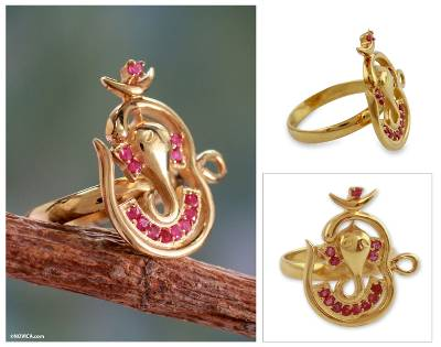 Gold vermeil ruby cocktail ring, Om Ganesha