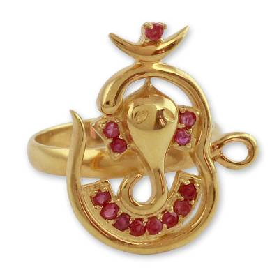 India Gold Vermeil Ruby Ganesha Ring