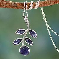 Iolite pendant necklace, 'Indigo Leaves' - Artisan Crafted Iolite and Sterling Silver Pendant Necklace