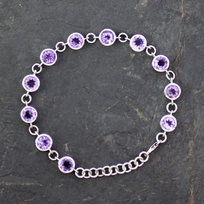 Amethyst tennis bracelet, 'Love Forever' - Hand Made Amethyst Bracelet from India
