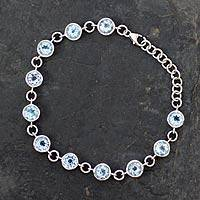 Blue topaz tennis bracelet, 'Love Forever' - Handmade Blue Topaz Bracelet from India