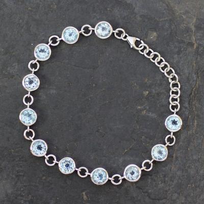 Blue topaz tennis bracelet, 'Love Forever' - Handmade Blue Topaz Bracelet from India