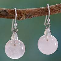Rose quartz dangle earrings, 'Moon of Romance' - Rose Quartz Sphere Earrings India Artisan Jewelry