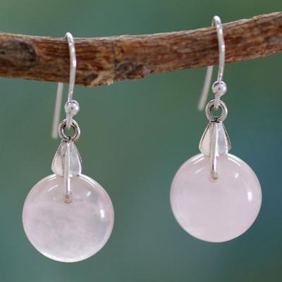 Rose quartz dangle earrings, 'Moon of Romance' - Rose Quartz Sphere Earrings India Artisan Jewelry