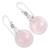 Rose quartz dangle earrings, 'Moon of Romance' - Rose Quartz Sphere Earrings India Artisan Jewelry (image 2b) thumbail