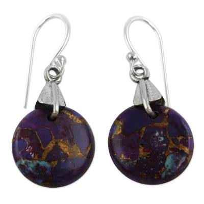 Purple Turquoise Sphere Earrings India Artisan Jewelry