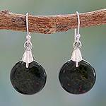 Bloodstone Sphere Earrings India Artisan Jewelry, 'Moon of Justice'
