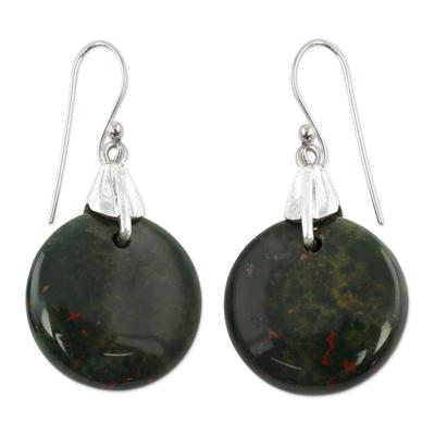 Bloodstone dangle earrings, 'Moon of Justice' - Bloodstone Sphere Earrings India Artisan Jewelry