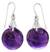 Amethyst dangle earrings, 'Moon of Mysticism' - Amethyst Sphere Earrings India Artisan Jewelry (image 2a) thumbail