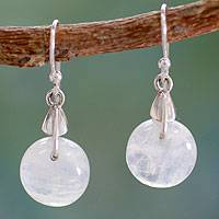 Rainbow moonstone dangle earrings, 'Moon of Inner Strength' - Rainbow Moonstone Sphere Earrings India Artisan Jewelry