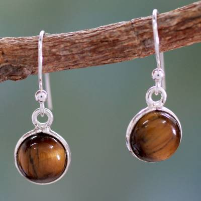 Tiger's eye dangle earrings, 'Lucky Hunch' - Tiger's Eye Earrings Sterling Silver Jewelry