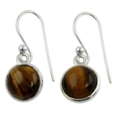 Tiger's eye dangle earrings, 'Lucky Hunch' - Tiger's Eye Earrings Sterling Silver Jewelry