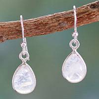 Rainbow moonstone dangle earrings, 'Hypnotic Minimalism' - Rainbow Moonstone Sterling Silver Drop Earrings from India