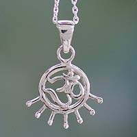 Sterling silver pendant necklace, 'Flames of Faith' - Handmade Sterling Silver Om Necklace