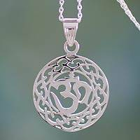 Sterling silver pendant necklace, 'Spiritual Om' - Artistan Crafted Silver Necklace