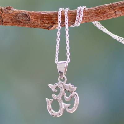 Sterling silver pendant necklace, 'Om Mantra' - Spiritual Hand Crafted Sterling Necklace from India