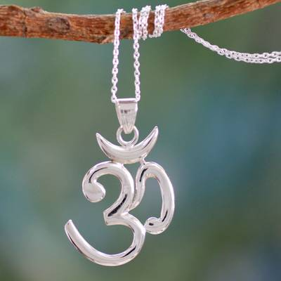 Sterling silver pendant necklace, Shiva Mantra