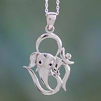 Sterling silver pendant necklace, 'Modern Ganesha'