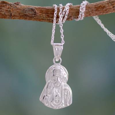 Sterling silver pendant necklace, 'Sai Baba Blessing' - India Artisan Crafted Sterling Silver Pendant Necklace