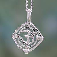 Sterling silver pendant necklace, 'Mantra Prayer' - India Mantra Silver Necklace