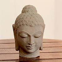 Sandstone sculpture, 'Peaceful Buddha' - Sandstone Buddha Sculpture from India