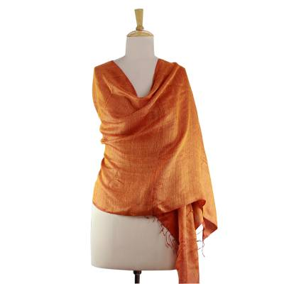Reversible silk shawl, 'Sunset and Harmony' - India Orange and Red Handmade Silk Shawl