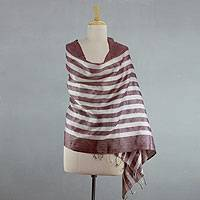 Silk shawl, 'Natural Chic' - India White and Purple Handmade Tussar Silk Shawl