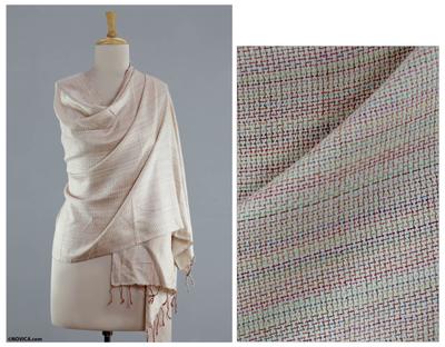 Silk shawl, 'Subtle Rainbow' - India White and Multicolor Handmade Silk Shawl