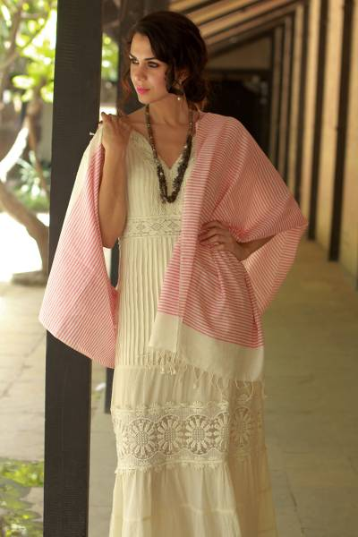 Cotton shawl, 'Candy Stripes' - White and Red Handmade Cotton Shawl