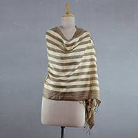 Silk shawl, 'Natural Olive' - India White and Olice Green Handmade Tussar Silk Shawl