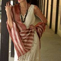 Silk shawl, 'Maroon Chic' - Handmade Ivory and Maroon Tussar Silk Shawl