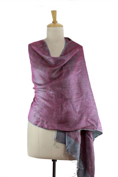Reversible silk shawl, 'Amethyst Teal' - Purple and Teal Handmade 100% Silk Shawl from India