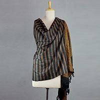 Silk shawl, 'Sunset Diamonds' - orange and Charcoal Handmade Tussar Silk Shawl