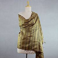 Silk shawl, 'Natural Splendor' - Handwoven Tussar Silk Shawl