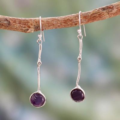 Amethyst dangle earrings, 'Pendulum' - Modern Silver Earrings with Amethyst