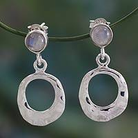 Rainbow moonstone dangle earrings, 'Morning Light' - Modern Silver Earrings with Rainbow Moonstone