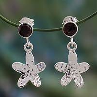 Garnet dangle earrings, 'Morning Star' - Garnet and Silver Dangle Earrings