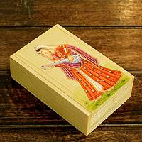 Wood jewelry box, 'Melody of Love' - Romantic Hand Painted Jewelry Box from India